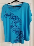 Turquoise shirt with rows of bicyles
