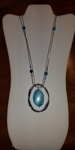 silver long necklace/blue drop pendant