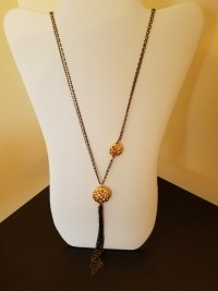 long necklace with tassel 2 gold beads