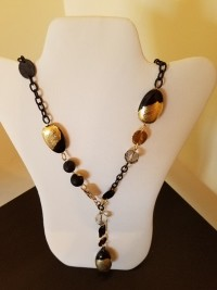 long necklace with black chain and beads