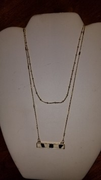 2 strand black and wide necklace on gold chain