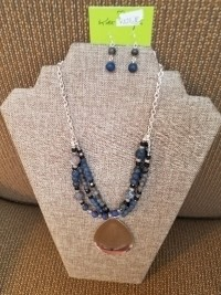 Gray  beaded stranded necklace with silver drop pendant and matching earrings